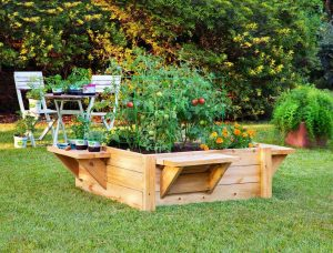 Raised Flower Bed with Benches