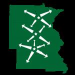 Sprenger Midwest Wholesale Lumber Distribution Map Servicing North Dakota, Minnesota, South Dakota, Nebraska, Kansas, Iowa and Missouri.