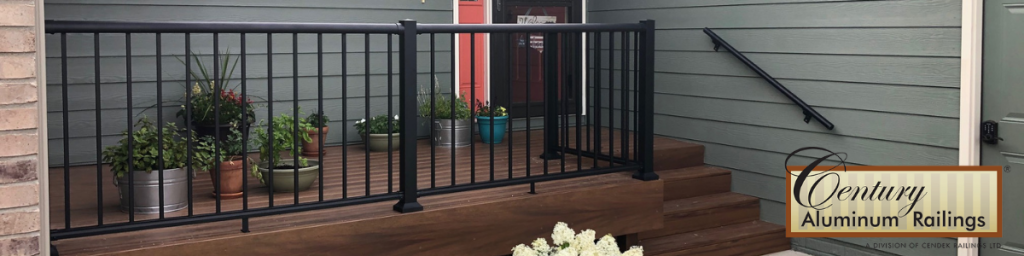 Century Aluminum Railings in stock from Sprenger Midwest pictured in black.